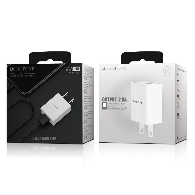 borofone ba6 powerplug single usb port charger us package