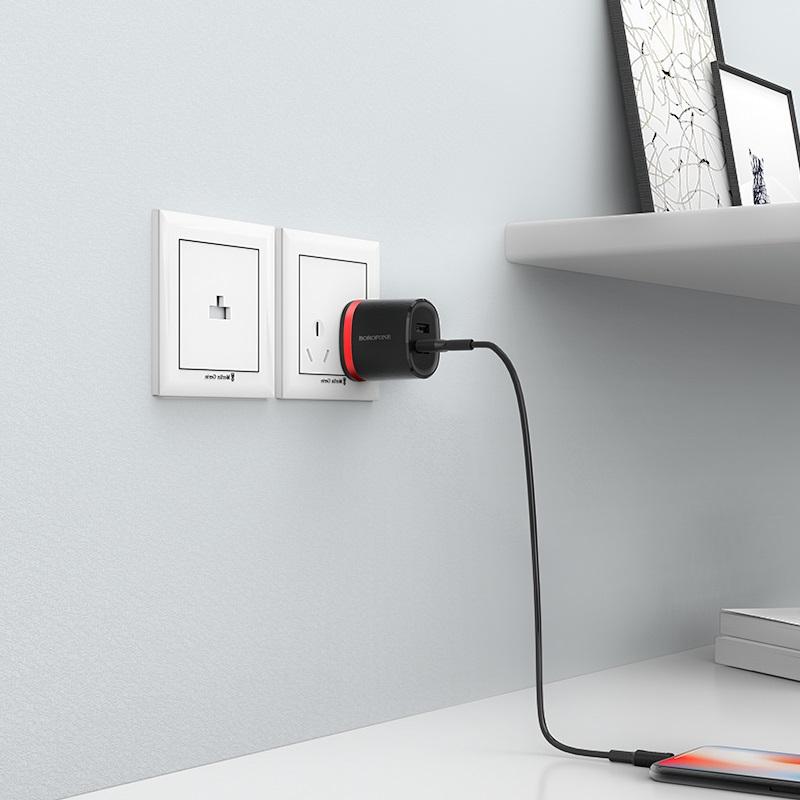 borofone ba7 flashplug double usb port charger us set with lightning cable charging