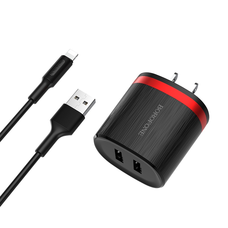 borofone ba7 flashplug double usb port charger us set with lightning cable wall