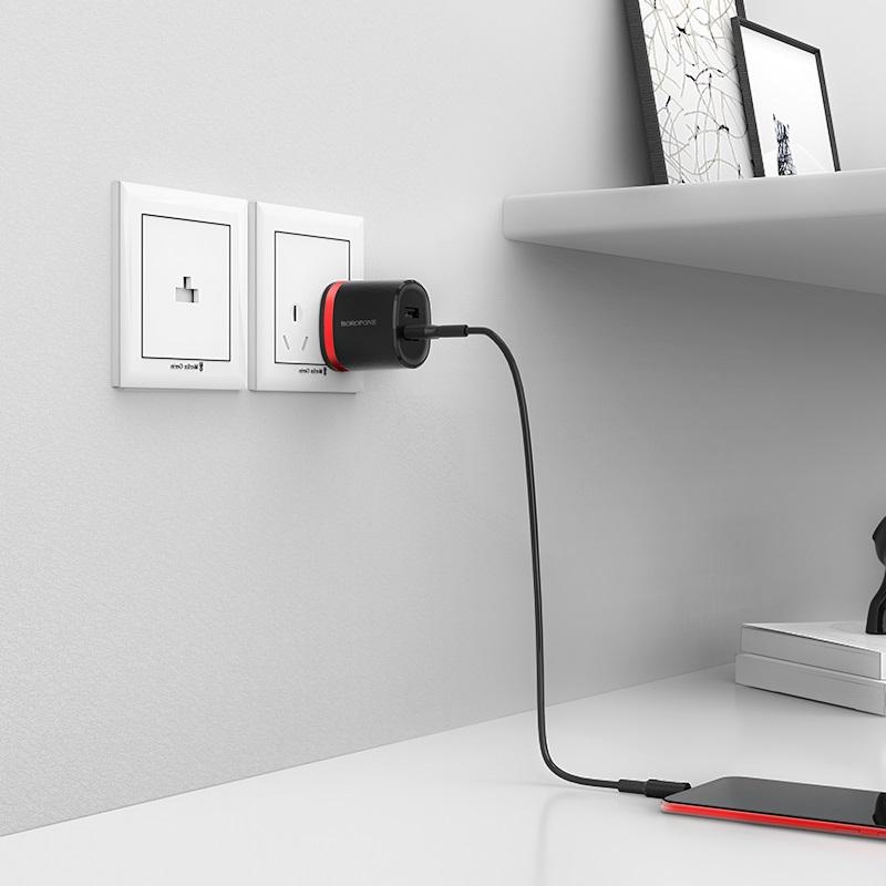 borofone ba7 flashplug double usb port charger us set with micro usb cable charging