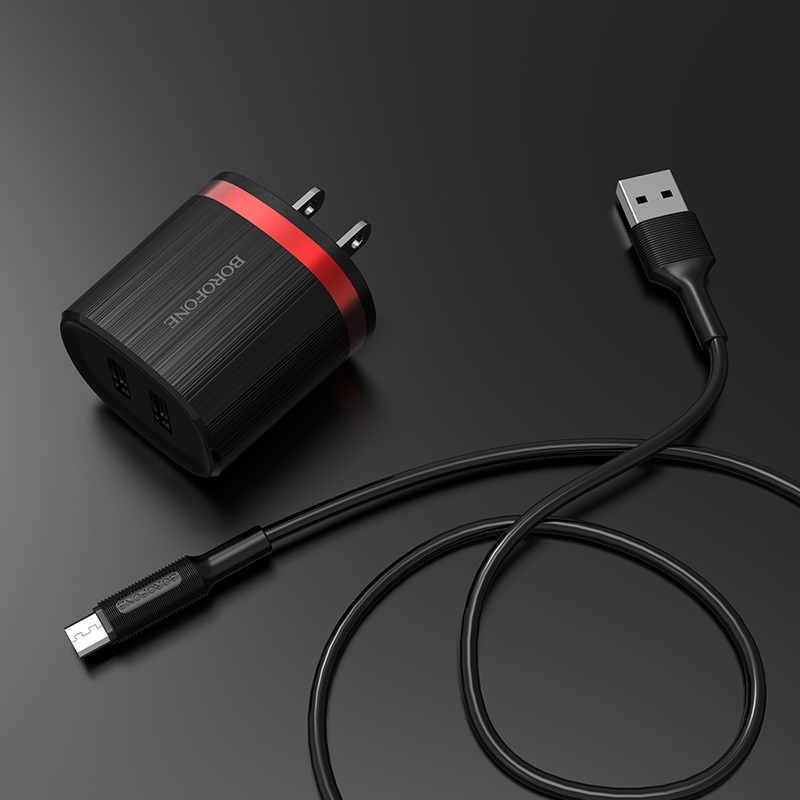 borofone ba7 flashplug double usb port charger us set with micro usb cable overview