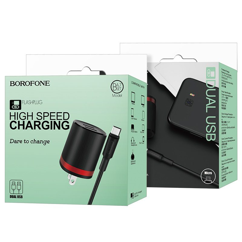 borofone ba7 flashplug double usb port charger us set with micro usb cable package