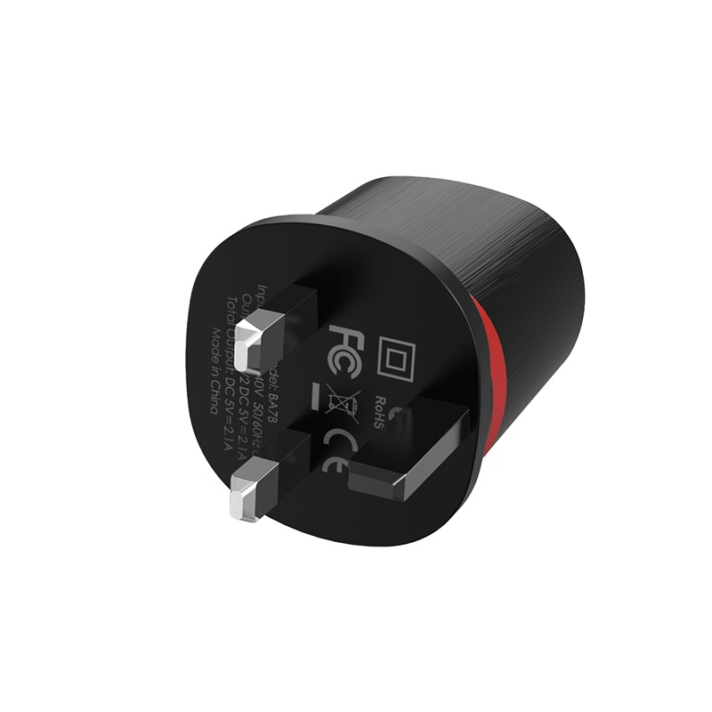 borofone ba7b flashplug double usb port charger uk pins