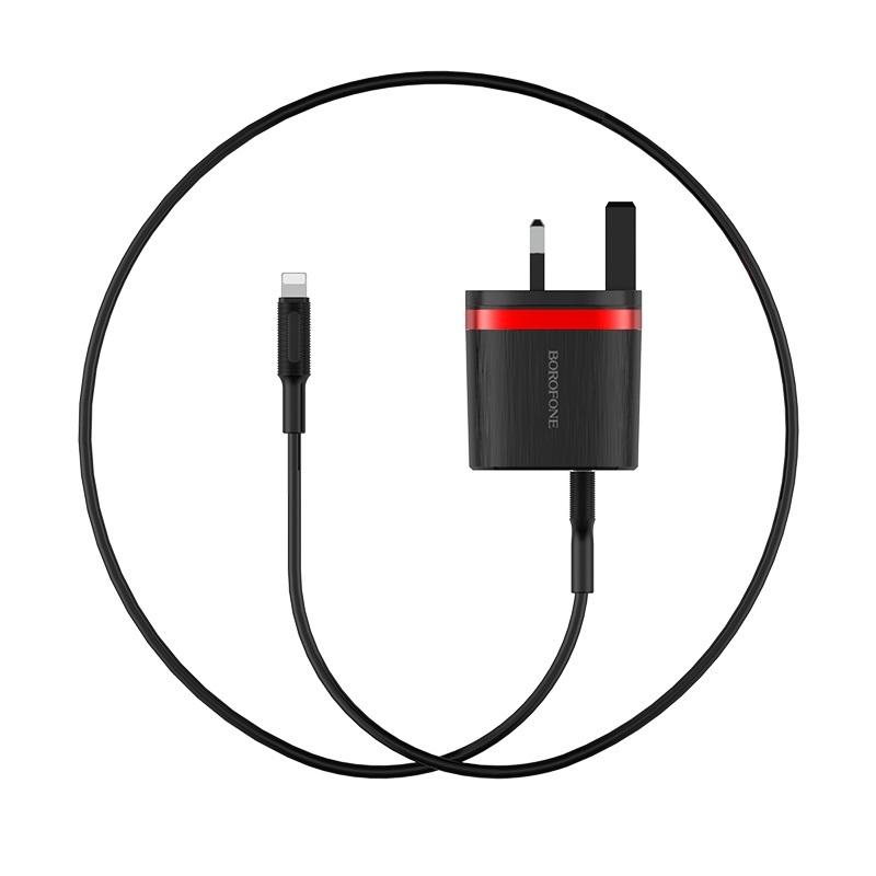 borofone ba7b flashplug double usb port charger uk set with lightning cable black