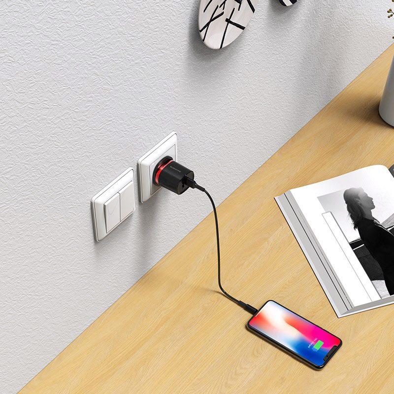 borofone ba7b flashplug double usb port charger uk set with lightning cable charging