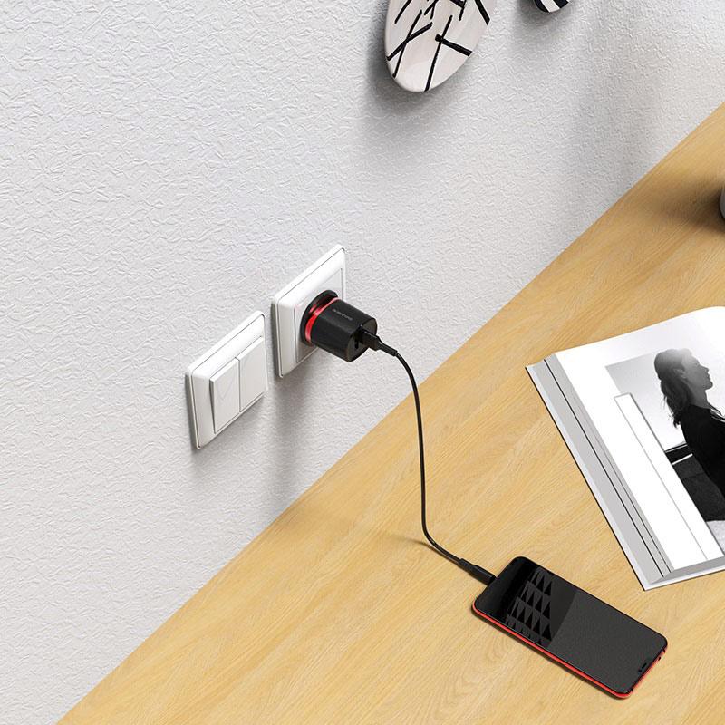 borofone ba7b flashplug double usb port charger uk set with micro usb cable charging