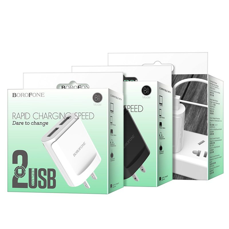 borofone ba8 leplug double usb port charger us package
