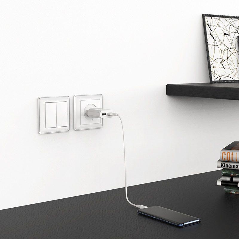 borofone ba8a leplug double usb port charger eu adapter