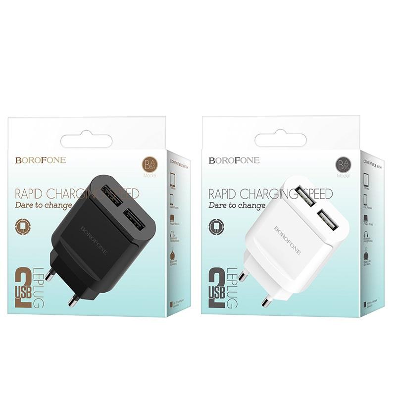 borofone ba8a leplug double usb port charger eu box