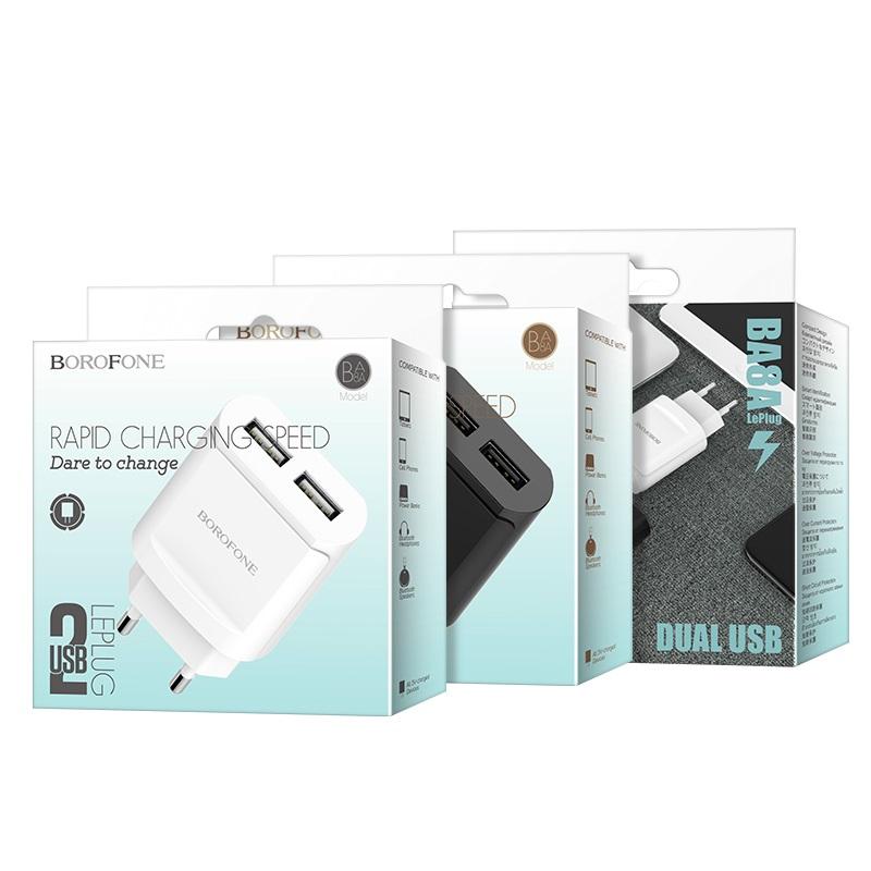 borofone ba8a leplug double usb port charger eu package