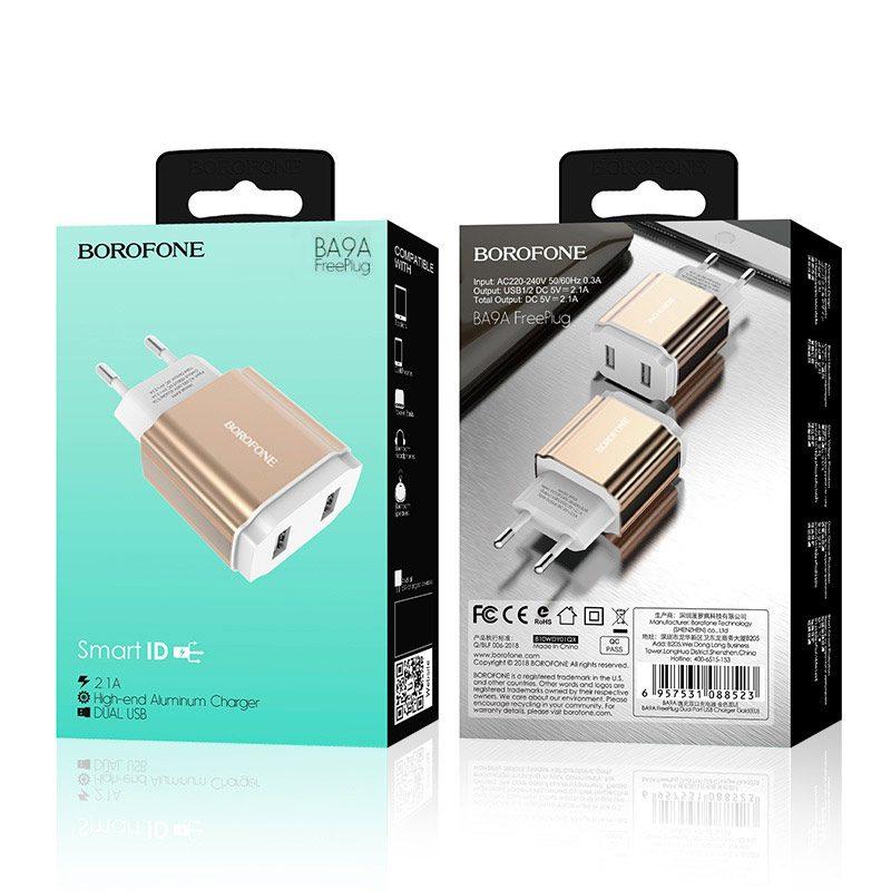 borofone ba9a freeplug dual usb port charger eu