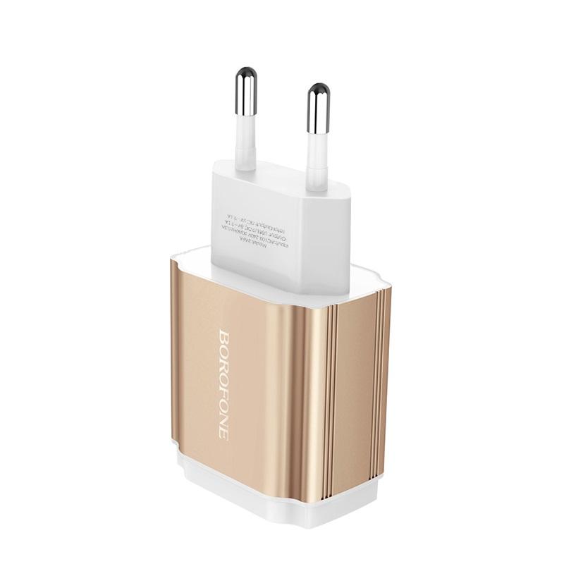 borofone ba9a freeplug dual usb port charger eu adapter