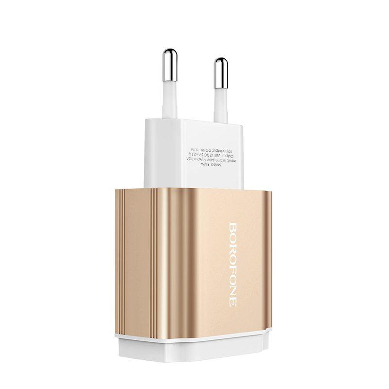 borofone ba9a freeplug dual usb port charger eu texture