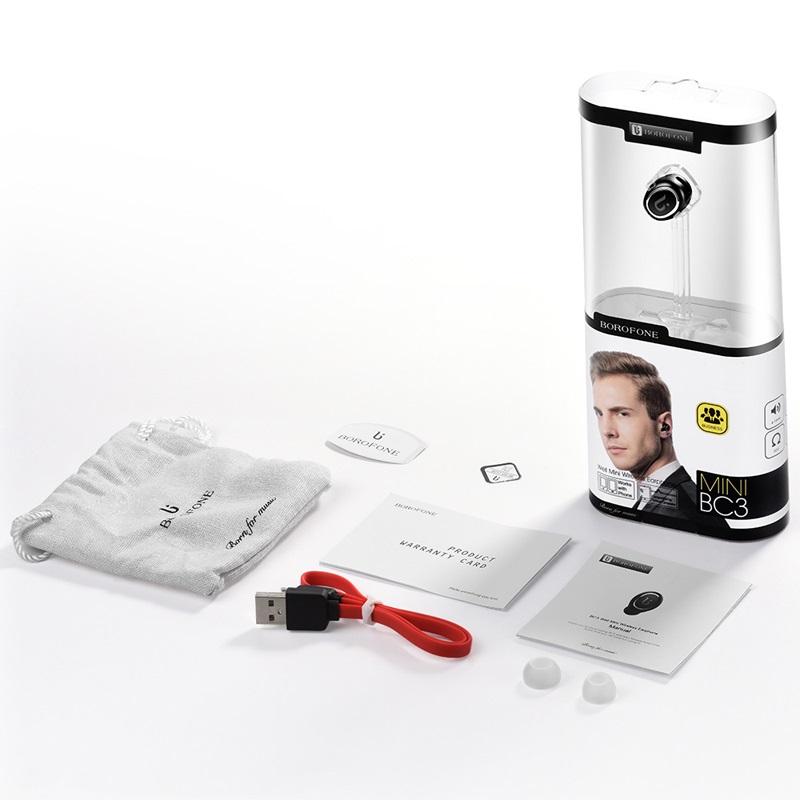 borofone bc3 well mini wireless earphone package black