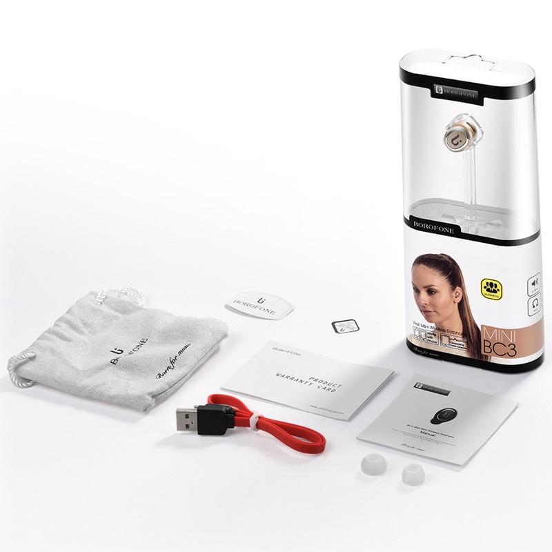 borofone bc3 well mini wireless earphone package gold