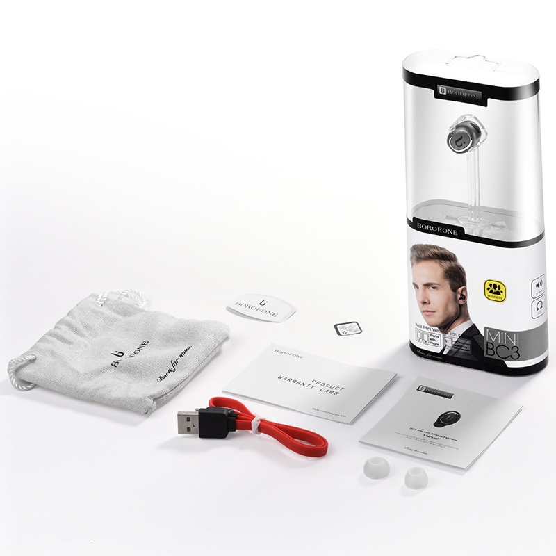 borofone bc3 well mini wireless earphone package metal gray