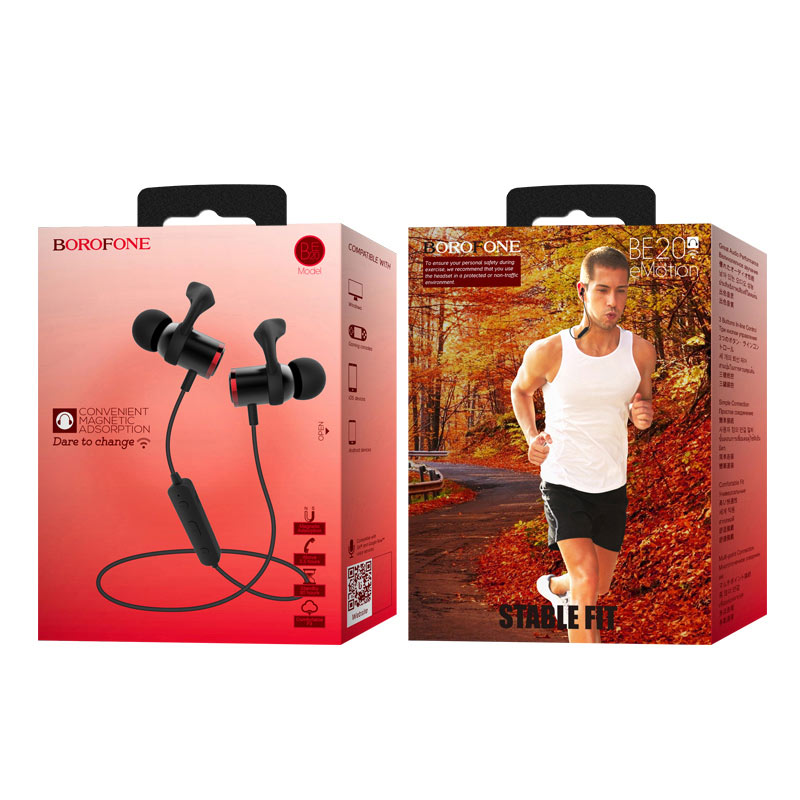 borofone be20 emotion sports wireless earphones package