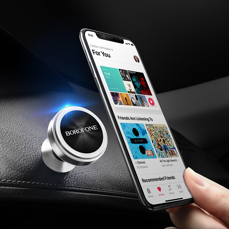 borofone bh5 platinum metal magnetic in car dashboard phone holder overview