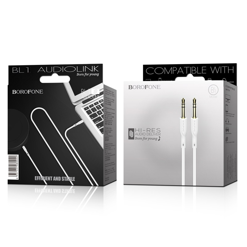borofone bl1 audiolink aux audio cable white package