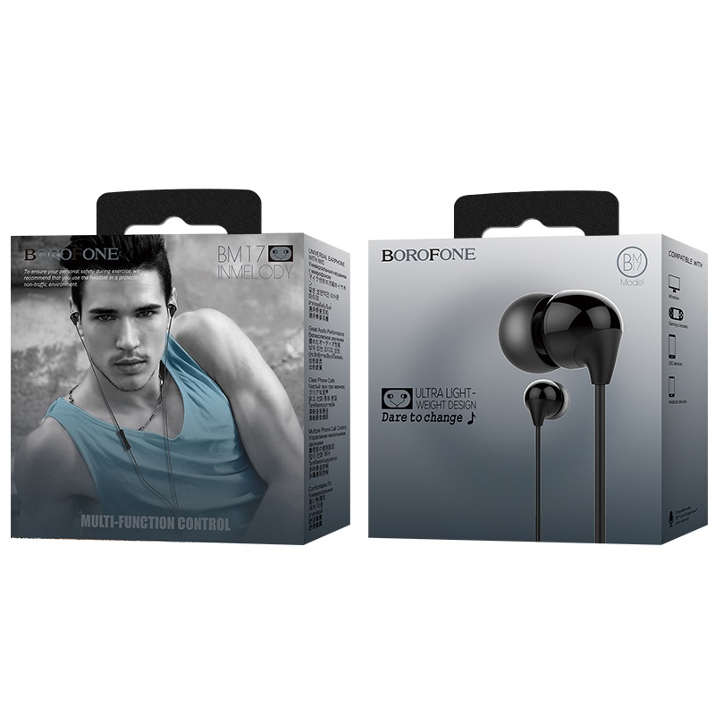 borofone bm17 inmelody in line control wired earphones package black