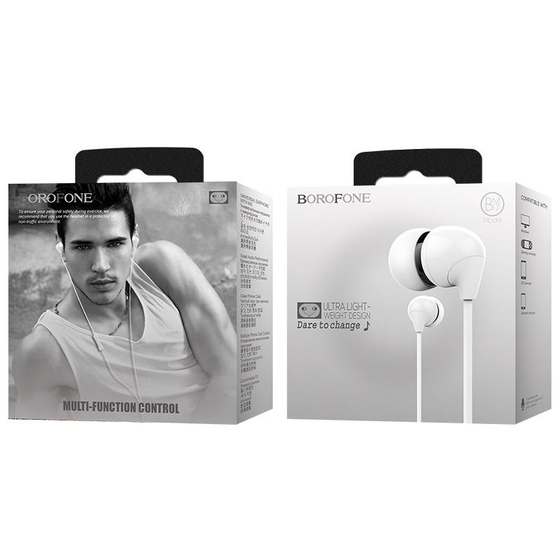 borofone bm17 inmelody проводные наушники с пультом управления упаковка белый