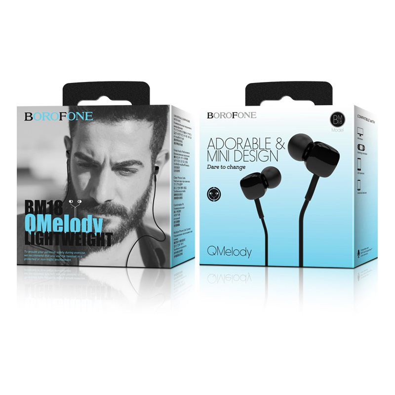 borofone bm18 qmelody in line control wired earphones package black