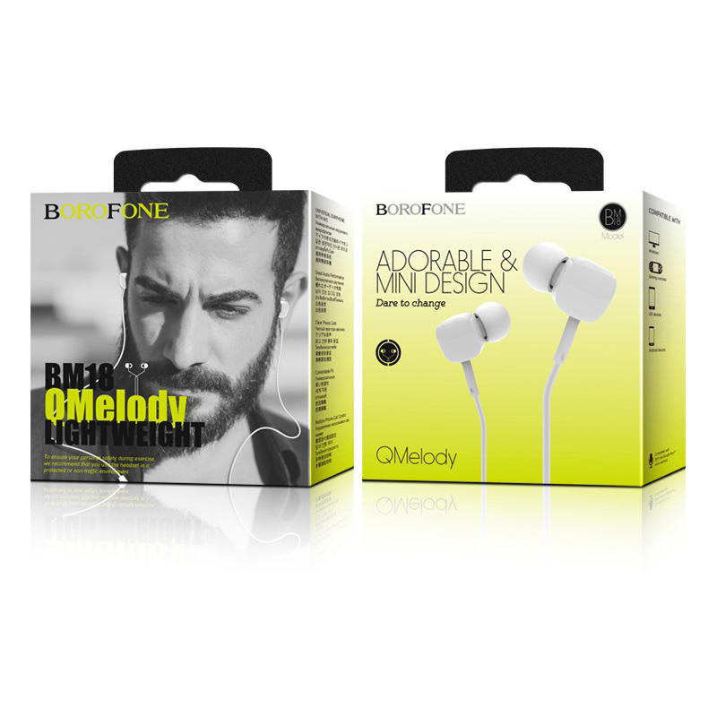 borofone bm18 qmelody in line control wired earphones package white