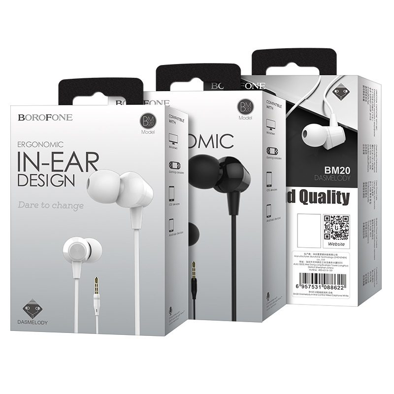 borofone bm20 dasmelody in line control wired earphones packages