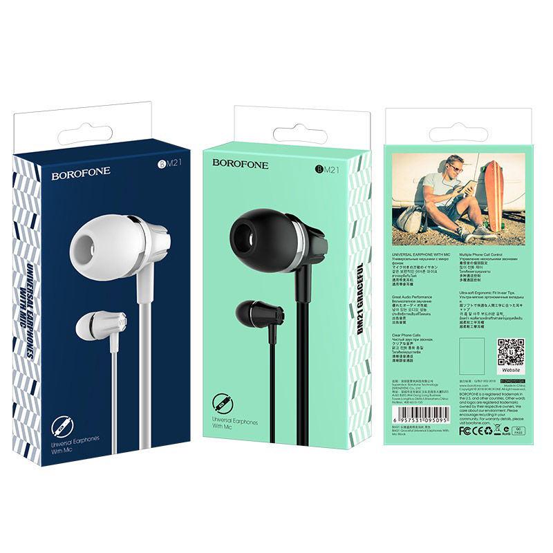 borofone bm21 graceful universal earphones with mic packages