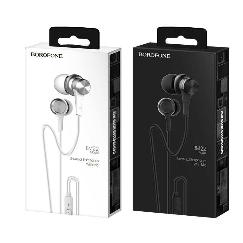 borofone bm22 boundless universal earphones with mic packages