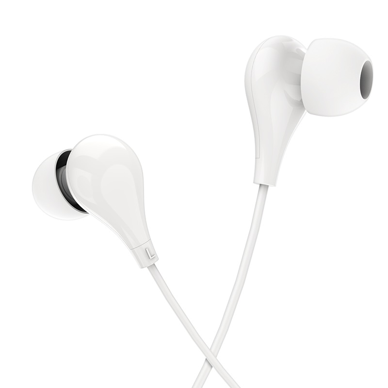 borofone bm24 milo universal earphones with mic intro white