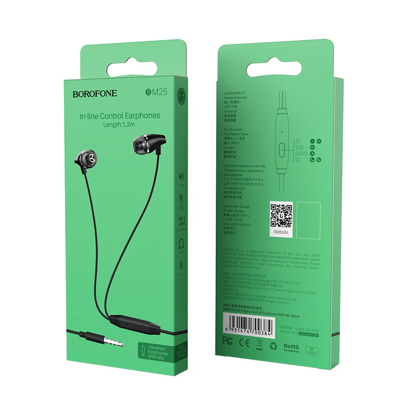 borofone bm25 sound edge universal earphones with mic package black