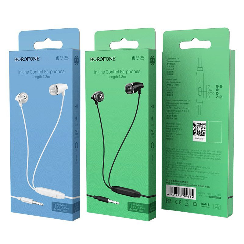borofone bm25 sound edge universal earphones with mic packages