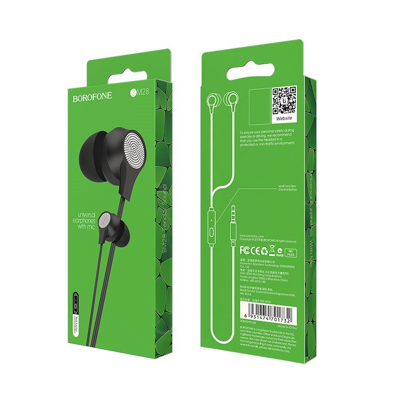 borofone bm28 tender sound universal earphones with mic package black