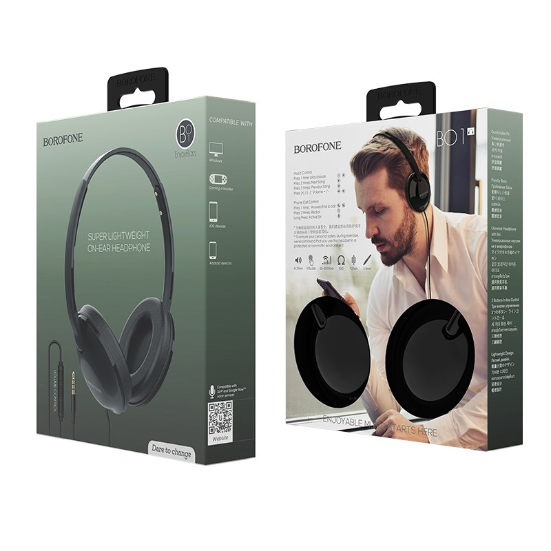 borofone bo1 enjoybass in line control wired headphones package black