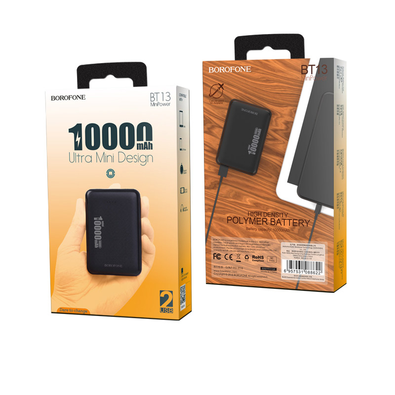borofone bt13 minipower power bank 10000mah package black