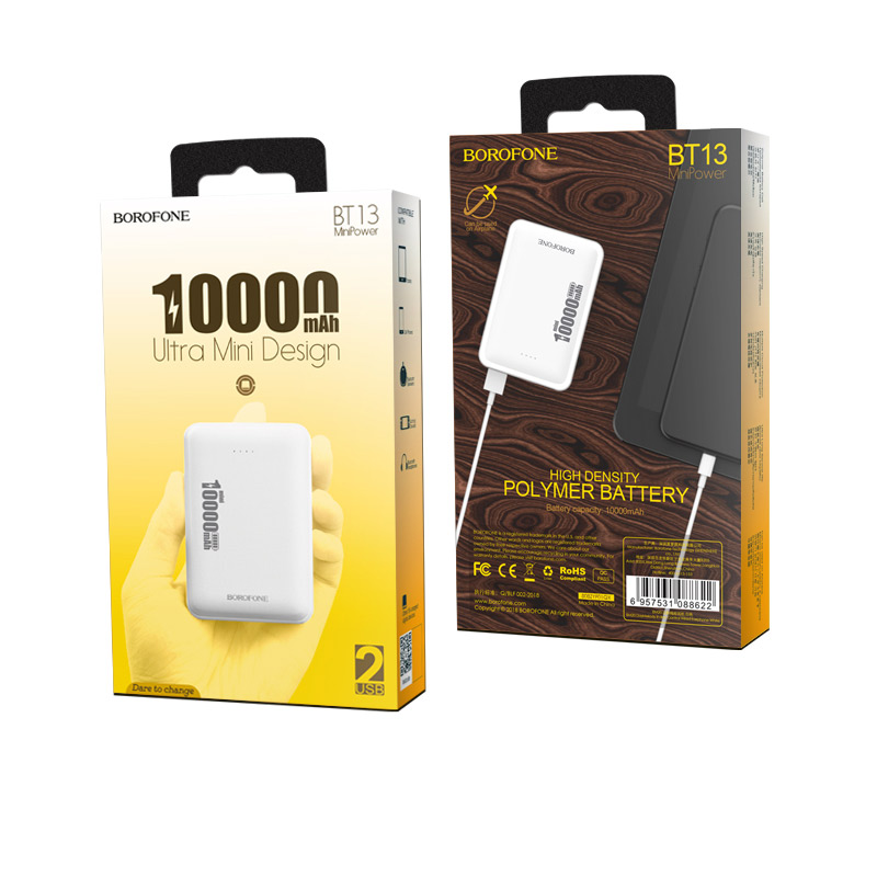 borofone bt13 minipower power bank 10000mah package white