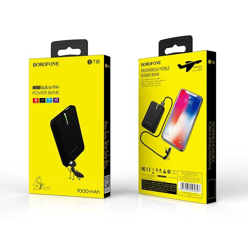 borofone bt18 prosperous mobile power bank 7000mah package black