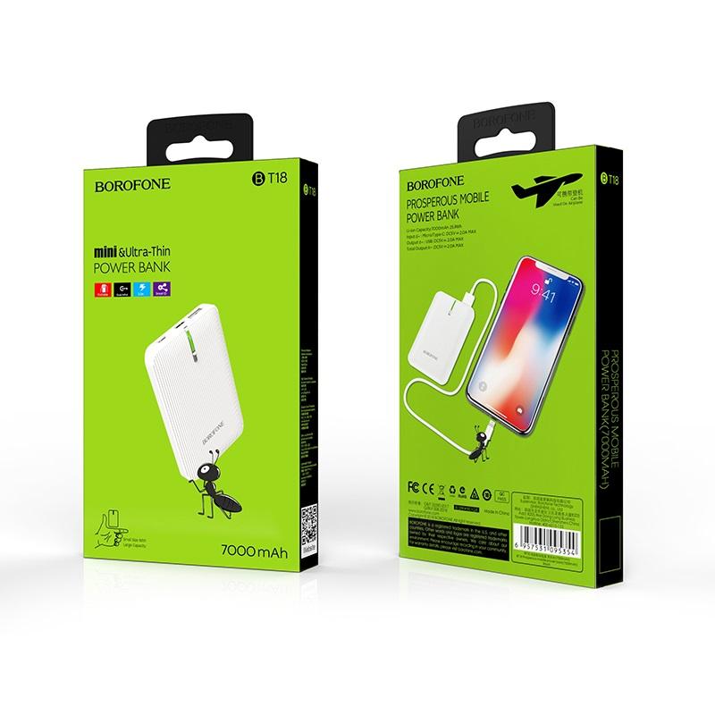borofone bt18 prosperous mobile power bank 7000mah package white
