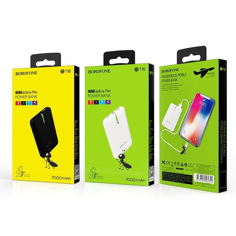 borofone bt18 prosperous mobile power bank 7000mah packages