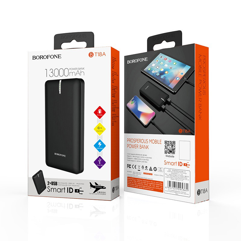 borofone bt18a prosperous mobile power bank 13000mah package black