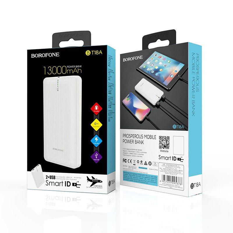 borofone bt18a prosperous mobile power bank 13000mah package white