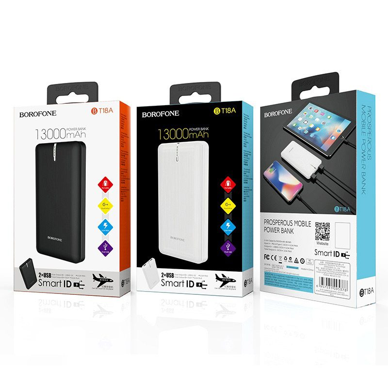 borofone bt18a prosperous mobile power bank 13000mah packages