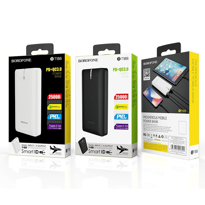 borofone bt18b prosperous mobile power bank 25000mah packages