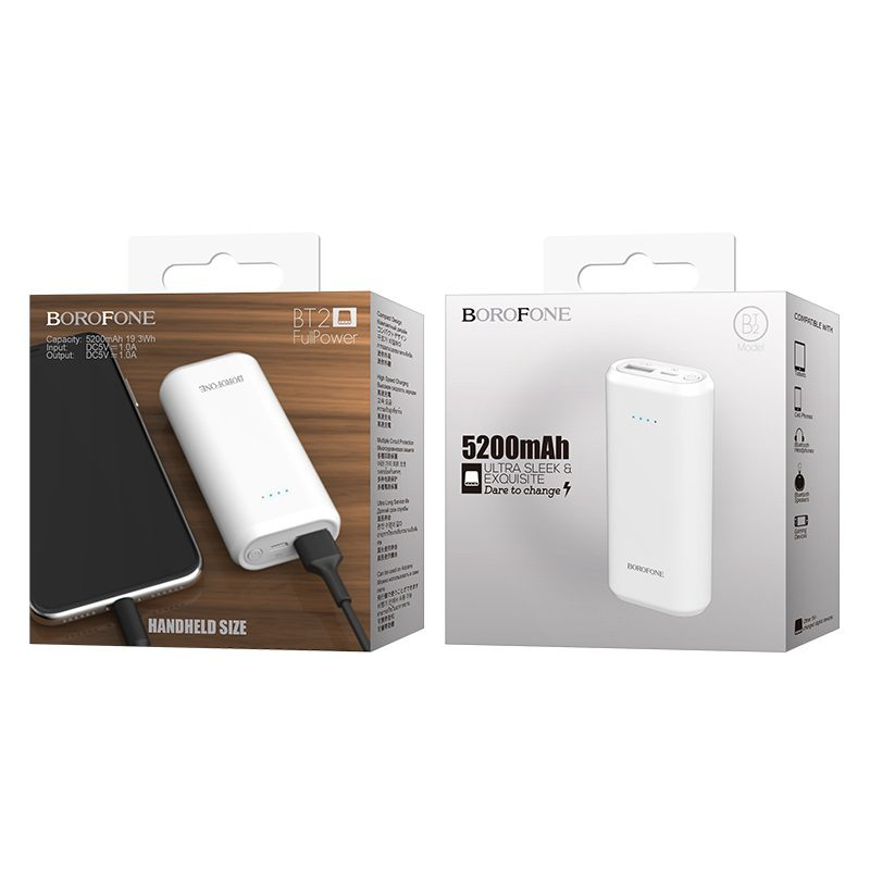 borofone bt2 fullpower power bank 5200mah package white