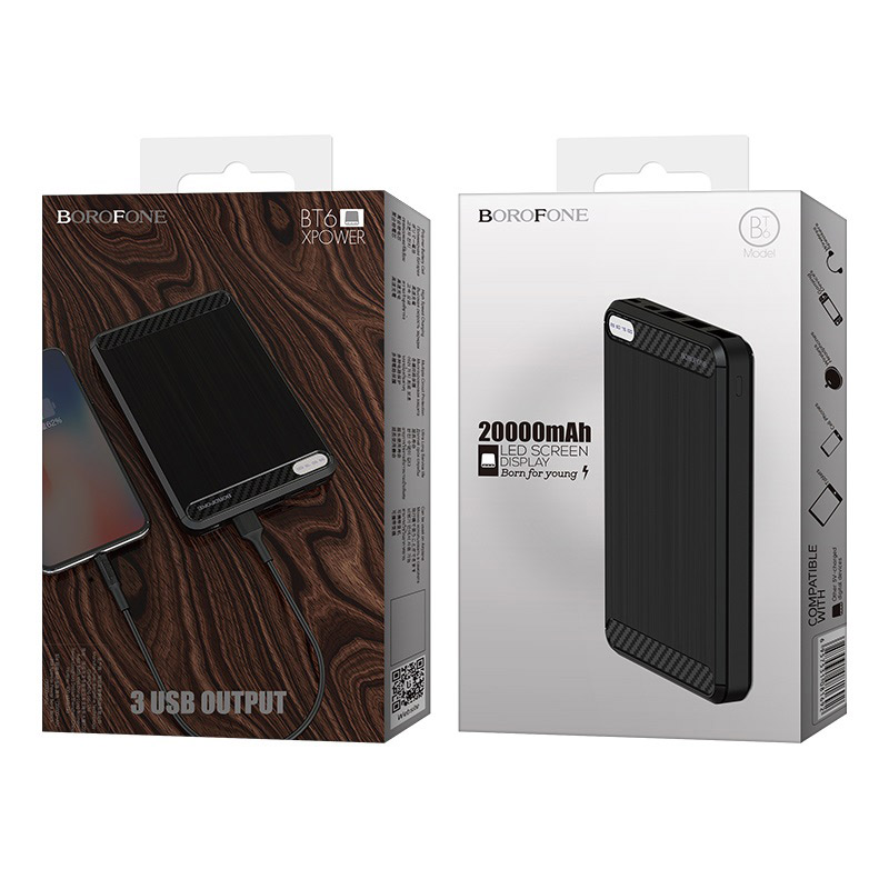 borofone bt6 xpower power bank 20000mah package black