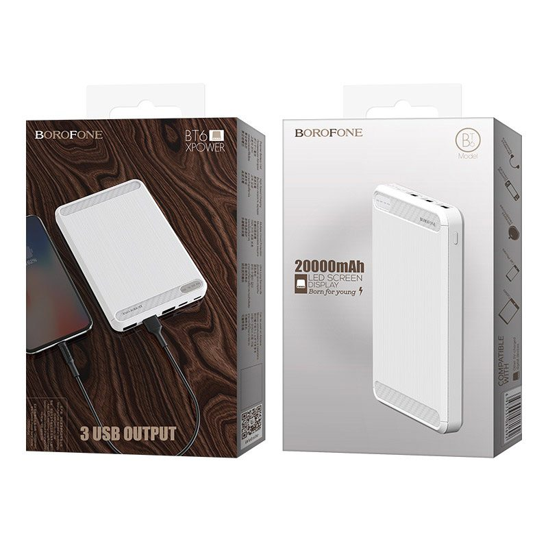 borofone bt6 xpower power bank 20000mah package white