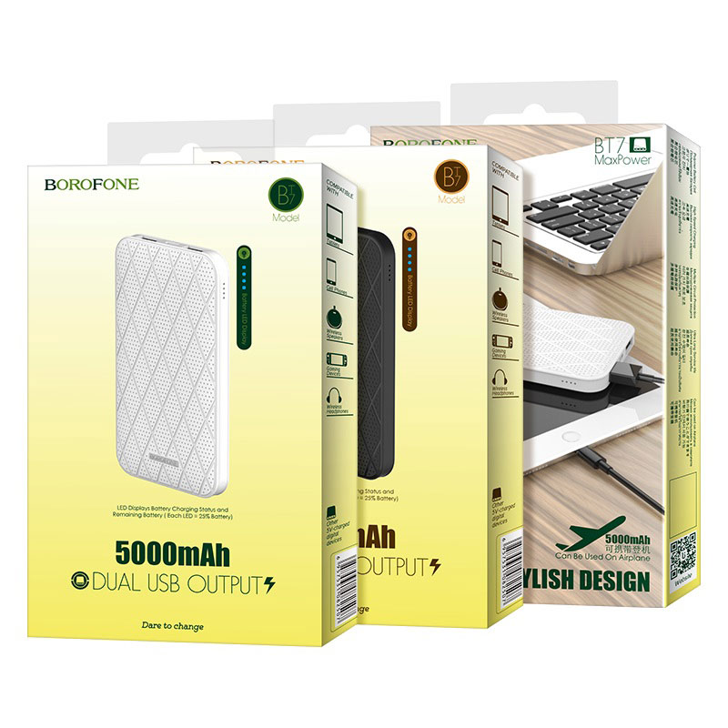 borofone bt7 maxpower power bank 5000mah packages