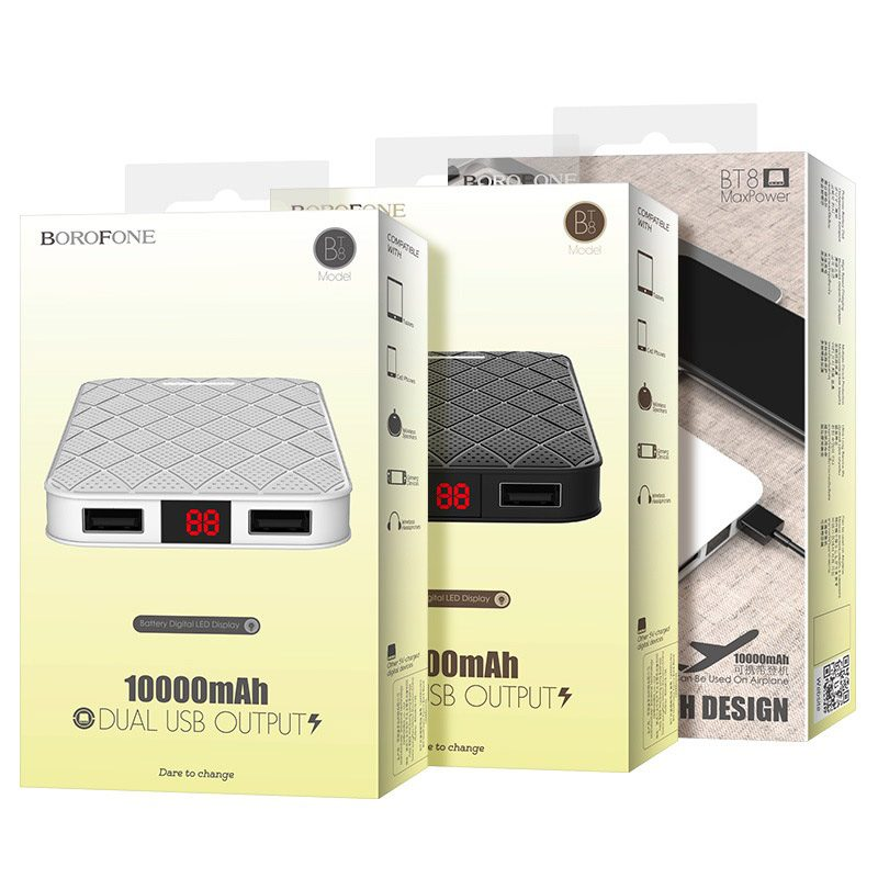 borofone bt8 maxpower power bank 10000mah packages