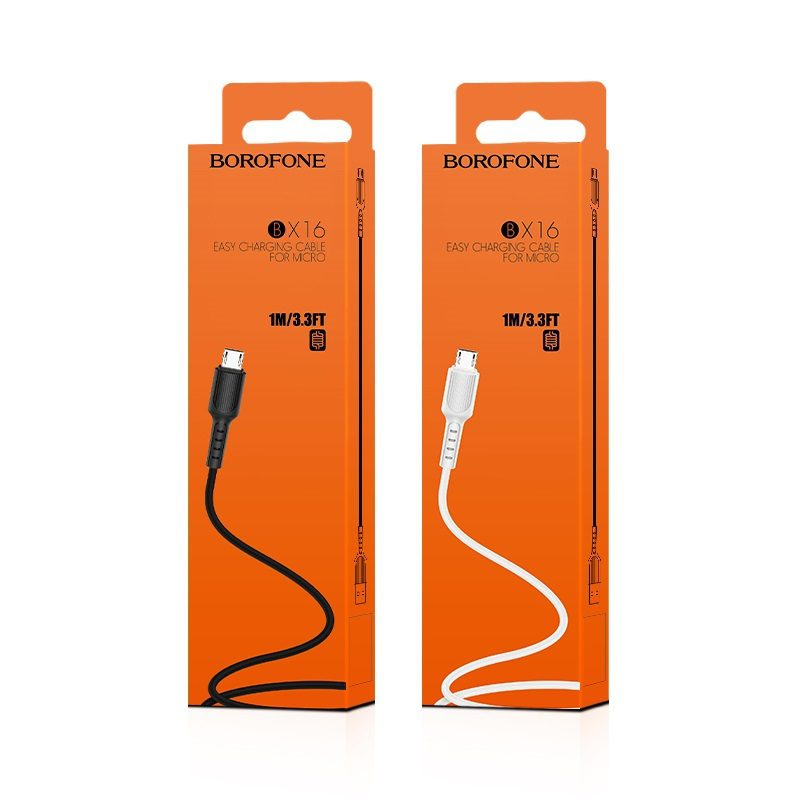 borofone bx16 easy micro usb charging data cable package